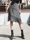 Leopard Print Pleated A-line Zipper Plus Size Skirt - Grey