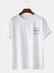 Mens Chest Print Crew Neck Loose Casual Cotton Short Sleeve T-Shirts - White