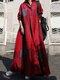 منقوشة طباعة طية صدر السترة طويلة الأكمام زر Plus فستان ماكسي مع جيوب - نبيذ أحمر