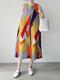 Geometry Stripe O-neck Pocket Sleeveless Women Print Dress - Yellow