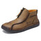Men Microfiber Leather Hand Stitching Soft Front Zipper  Ankle Boots - Khaki