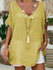 Solid Color Half Sleeve V-neck Casual Shirt - Yellow