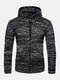 Mens Zip Front Knit Casual Drawstring Hooded Cardigans With Pocket - Black