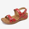 Women Stitching Soft Holiday Adjustable Hook Loop Beach Sandals - Red