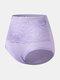 Plus Size Women Floral Lace Solid Color Cozy High Waist Panties - Purple
