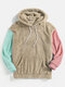 Mens Patchwork Fluffy Long Sleeve Pouch Pocket Teddy Hoodie - Apricot