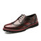 Men Brogue Microfiber Leather Non Slip Stylish Casual Dress Shoes - Red