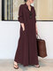 Solid Color Pocket Button Long SLeeve Casual Dress for Women - Claret