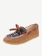 Women Casual Round Toe Knitted Gingham Bowknot Loafers Shoes - Brown