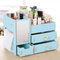 Desktop Wooden Drawer Cosmetic Storage Box With Mirror - Blue