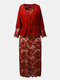 Lace Embroidery Patchwork Tie Front Plus Size Buttocks Midi Dress - Red