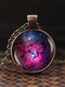 Vintage Glass Gem Women Necklace Universe Starry Sky Pendant Necklace Jewelry - #08