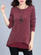 Fake Two Pieces Long Sleeve O-neck Women Blouse - Wine Red