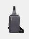 Men Earphone Hole Wear-resistant Multi-Layers Crossbody Bag Chest Bag Sling Bag - Gray