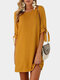 Knotted Long Sleeve O-neck Casual Mini Plus Size Dress - Yellow