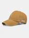 Men Washed Cotton Letter Pattern Baseball Cap Outdoor Sunshade Adjustable Hat - Yellow