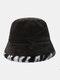 महिलाओं और पुरुषों के आलीशान गर्म Soft धारीदार पैटर्न आकस्मिक व्यक्तित्व बाल्टी टोपी - कॉफ़ी