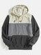 Mens Color Bolck Stitching Patchwork Drawstring Hoodies - Black