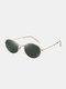 ユニセックスアロイオーバルフルフレーム偏光UVプロテクションファッションオールマッチサングラス - ゴールデンフレーム/ダークグリーン