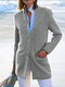 Solid Color Stand Collar Button Pocket Long Jacket - Gray