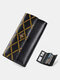 Heart Buckle Decor Genuine Leather 6.5 Inch Anti-theft RFID Clutch Wallet Multi-card Slots Card Holder Long Purse - Black Bee
