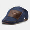 COLLROWN Men Knit Leather Patchwork Color Casual Personality Forward Hat Beret Hat - Blue