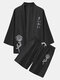 Mens Monochrome Rose Japanese Pirnt Open Front Kimono Two Pieces Outfits - Black