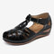 LOSTISY Women Hollow Comfy Wearable Beach Casual Wedges Sandals - Black