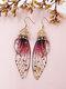 Vintage S925 Sterling Silver Butterfly Long Cicada Wings Gradient Earrings - 22