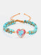Vintage Heart-shaped Turquoise Natural Stone Hand Woven Double Bead Yoga Bracelet - #01
