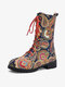 Embroidered Printing Sunflowers Block Heel Round Toe Lace-up Mid-calf Combat Boots for Women - Blue