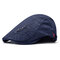 Men's Comfortable Cap Spring And Summer Embroidery Cotton Adjustable Fashion Beret Cap - Navy Blue