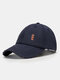 Unisex Made-old Cotton Solid Color Broken Hole Embroidery Fashion All-match Baseball Cap - Navy