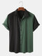 Plus Size Mens Two Tone Contrast Color Lapel Casual Short Sleeve Shirt - Green