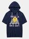 Mens Checkered Smile Print Short Sleeve Hooded T-Shirt - Navy