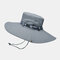 Mens Bucket Hat Outdoor Fishing Hat Climbing Mesh Breathable Sunshade Cap Oversized Brim With String - Light Grey