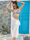 Women Solid Color Knotted Side Chiffon Beach Cover Up Skirt Swimsuit - White