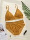 Women Floral Lace Removable Triangle Backless Wireless Lightly Bra Set - Yellow