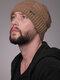 Uomo 2PCS Plus Velluto spesso inverno all'aperto Tenere in caldo Collo Protezione Copricapo Sciarpa Cappello lavorato a maglia Berretto - Cachi