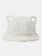 Frauen Lammwolle Cartoon Katze Ohrform Dekor Verdicken Warm Thermal Hut Eimer Hut - Weiß