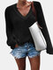 Solid Color V-neck Long Sleeve Casual Sweater For Women - Black