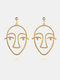 Fashion Exaggerated Abstract Human Face Earrings Gold Silver Dangle Earings for Women - Gold