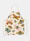 تنظيف بنمط الفراشة Colorful مآزر الطبخ المنزلي مريلة المطبخ للطبخ ارتداء مرايل الكبار من القطن والكتان - #25