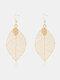 Bohemia Leaf Tassel Women Earrings Hollow Maple Leaf Pendant Earrings Jewelry Gift - #01