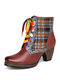 SOCOFY Retro Genuine Leather Lattice Splicing Comfy Colorful Shoelace Comfy Chunky Heel Short Boots - Coffee