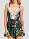 Leaves Print Floral Lace V-neck Sleeveless Sexy Casual Strap Romper for Women - Navy