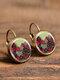 Vintage Glass Dangle Women Earrings Plant Flower Pattern Earrings Jewelry - #01
