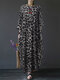 Leopard Print Patchwork Long Sleeve Plus Size Maxi Dress - Dark Grey