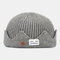 Men & Women Knitted Hat Autumn And Winter Woolen Melon Leather Hat Warm Men And Women Hats Skull Caps - Gray