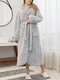 Women Solid Color Fleece Thicken Double Plush Belted Button Up Warm Loose Hooded Home Robes - Gray